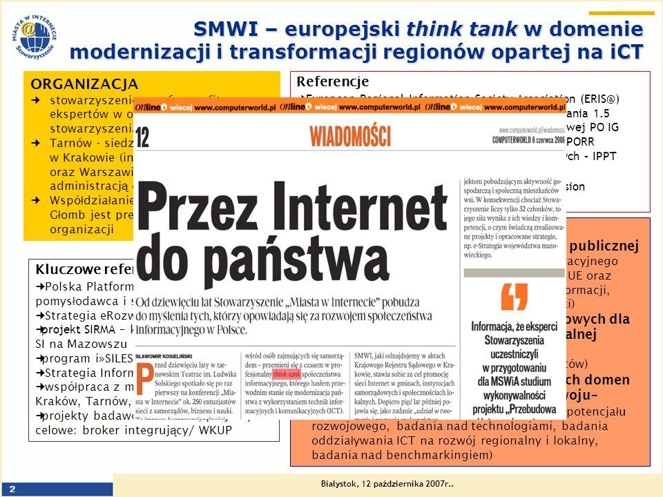 Białystok, 12 października 2007r.. 2 SMWI – europejski think tank w domenie modernizacji i transformacji regionów opartej na iCT ORGANIZACJA stowarzys
