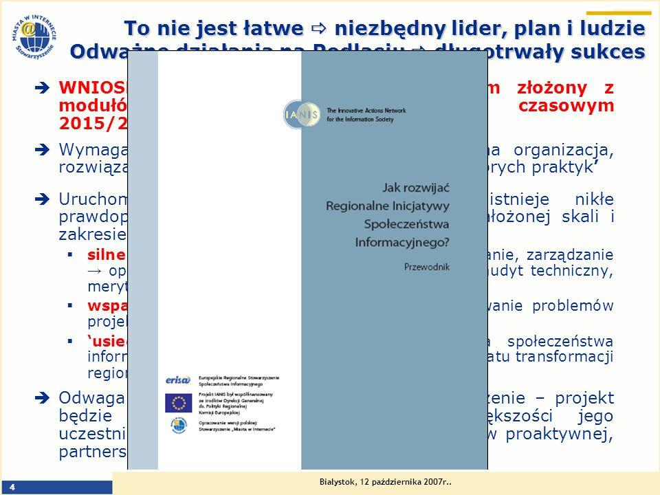 Białystok, 12 października 2007r.. 4 To nie jest łatwe niezbędny lider, plan i ludzie Odważne działania na Podlasiu długotrwały sukces WNIOSKI Z LEKTU