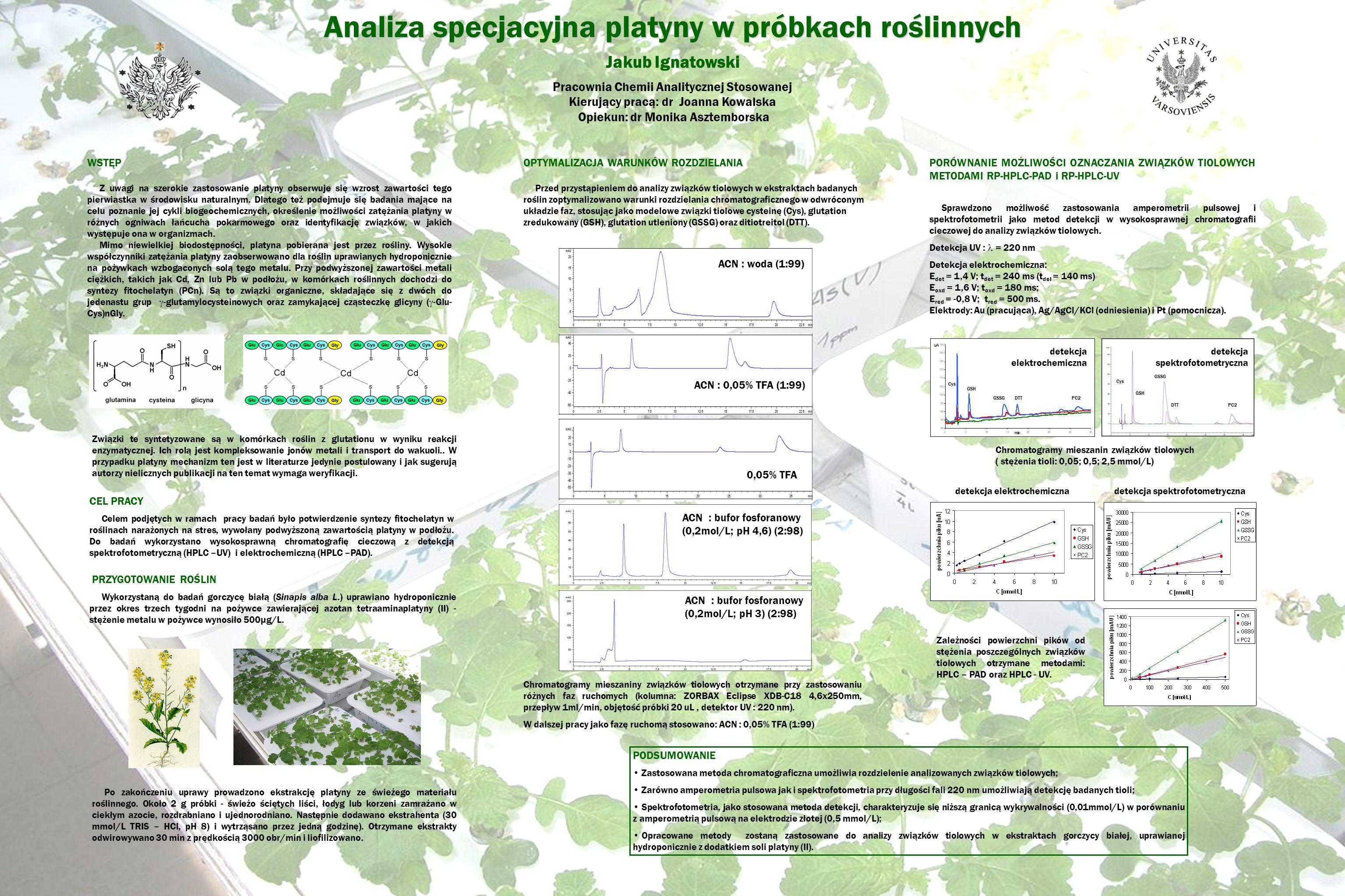 Analiza specjacyjna platyny w próbkach roślinnych Jakub Ignatowski Pracownia Chemii Analitycznej Stosowanej Kierujący pracą: dr Joanna Kowalska Opieku