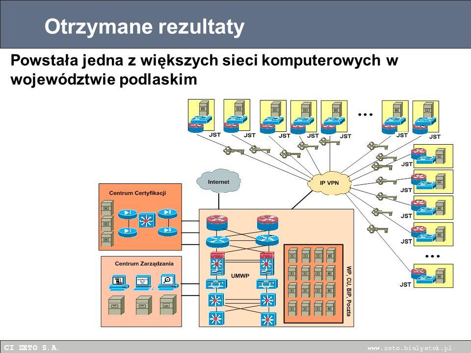 Otrzymane rezultaty Sprawniejsza, dobrze zabezpieczona praca samorządów Powstała jedna z większych sieci komputerowych w województwie podlaskim