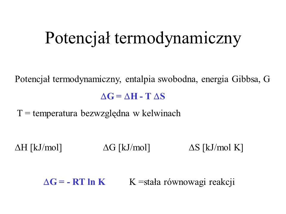 Potencjał termodynamiczny Potencjał termodynamiczny, entalpia swobodna, energia Gibbsa, G G = H - T S T = temperatura bezwzględna w kelwinach H [kJ/mo