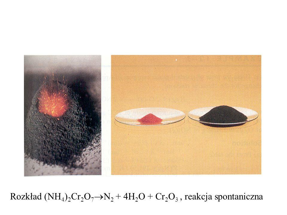 Rozkład (NH 4 ) 2 Cr 2 O 7 N 2 + 4H 2 O + Cr 2 O 3, reakcja spontaniczna