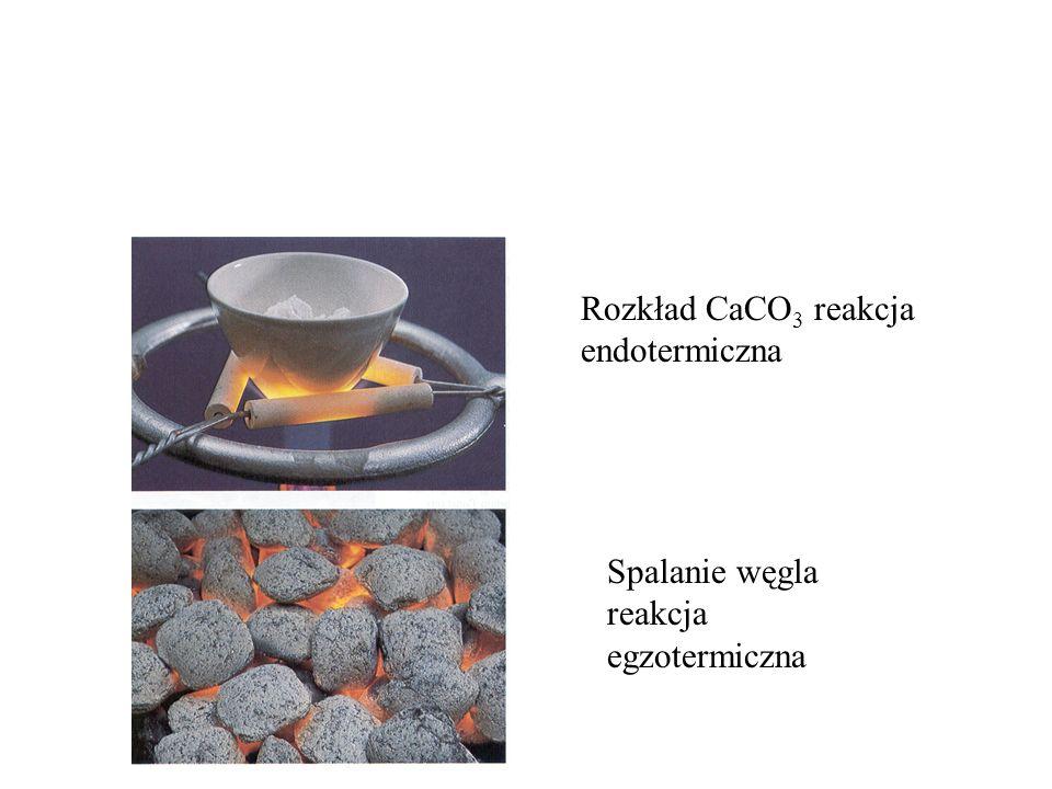 Rozkład CaCO 3 reakcja endotermiczna Spalanie węgla reakcja egzotermiczna