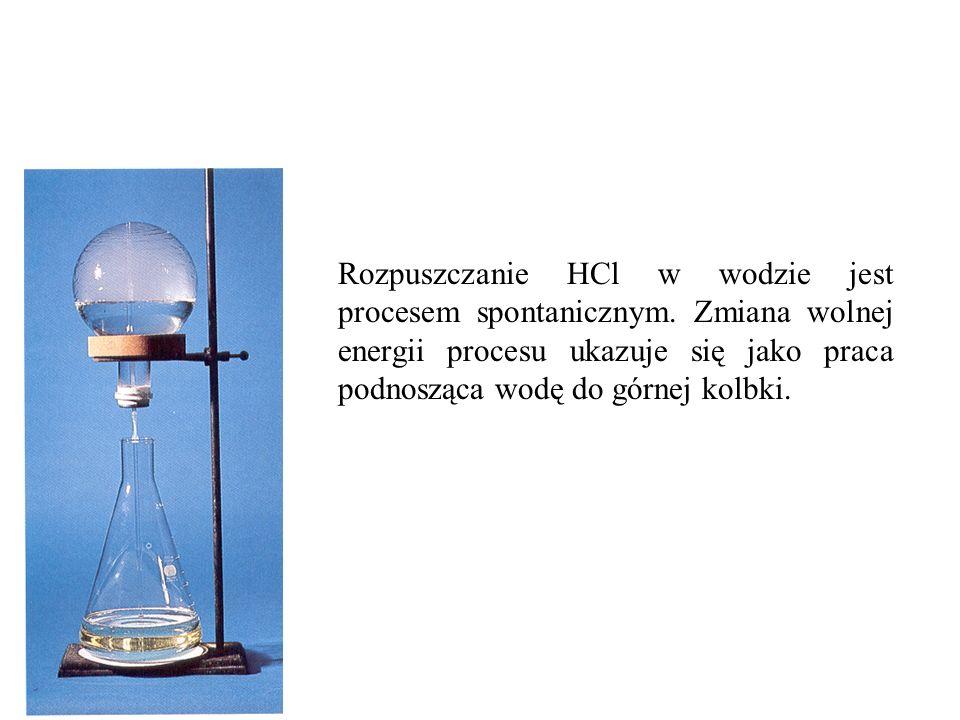 Rozpuszczanie HCl w wodzie jest procesem spontanicznym. Zmiana wolnej energii procesu ukazuje się jako praca podnosząca wodę do górnej kolbki.