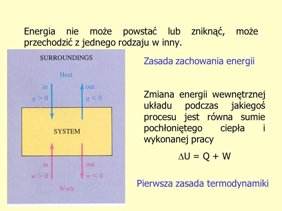 Energia nie może powstać lub zniknąć, może przechodzić z jednego rodzaju w inny. Zasada zachowania energii Zmiana energii wewnętrznej układu podczas j