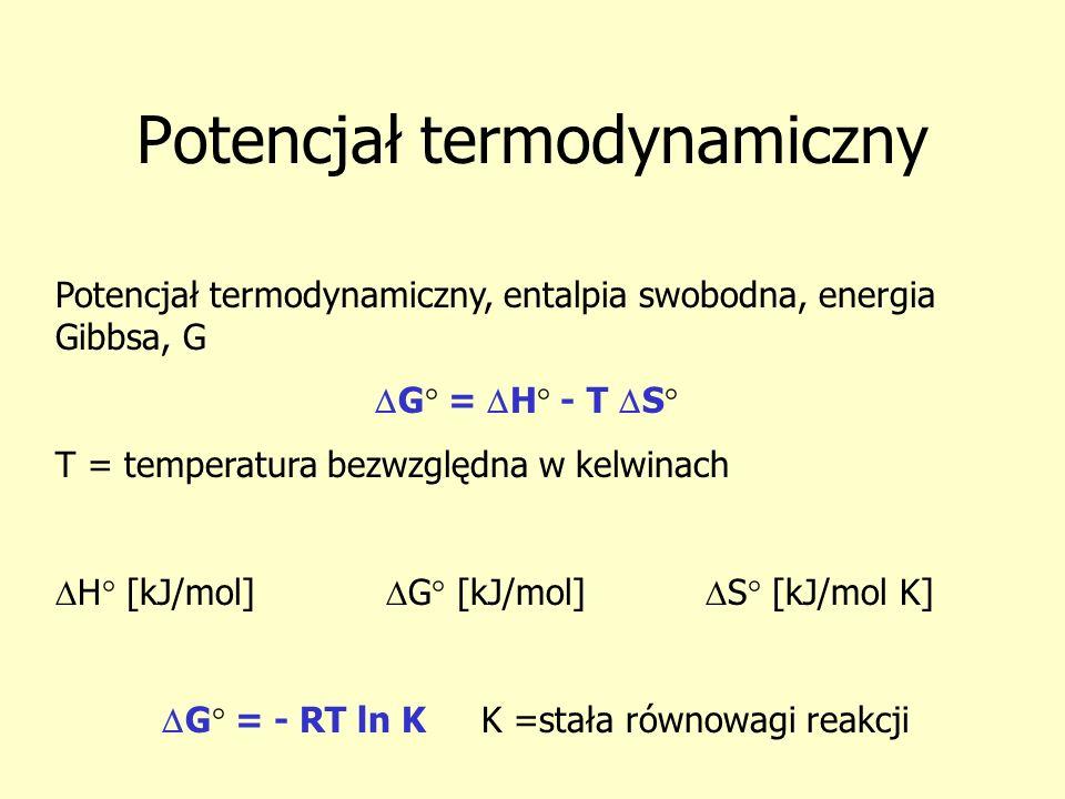Potencjał termodynamiczny Potencjał termodynamiczny, entalpia swobodna, energia Gibbsa, G G° = H° - T S° T = temperatura bezwzględna w kelwinach H° [k