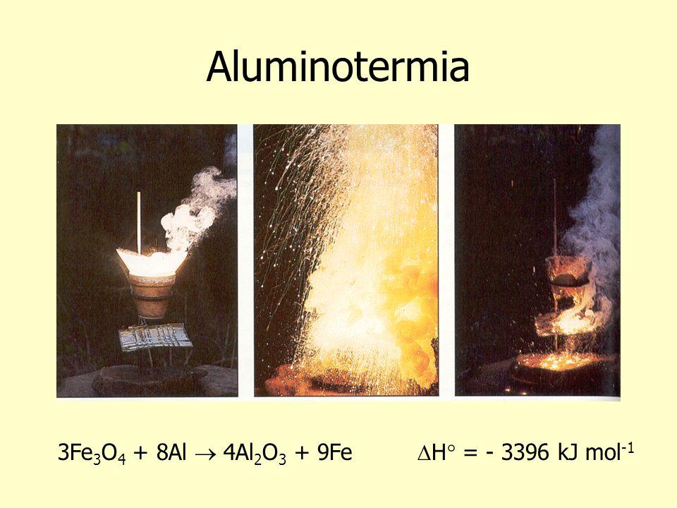 Aluminotermia 3Fe 3 O 4 + 8Al 4Al 2 O 3 + 9Fe H° = - 3396 kJ mol -1