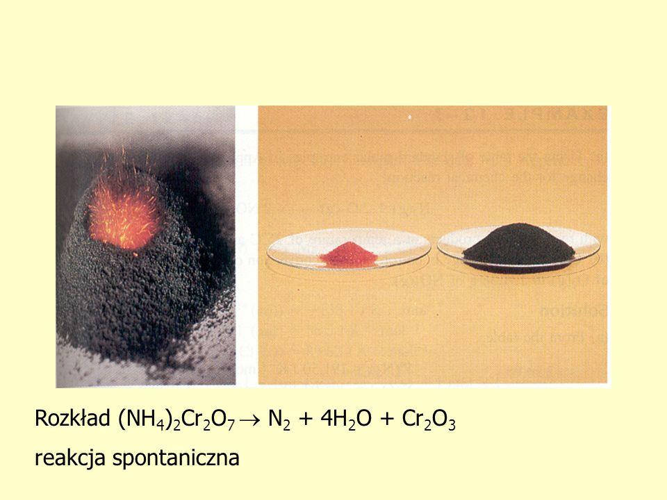Rozkład (NH 4 ) 2 Cr 2 O 7 N 2 + 4H 2 O + Cr 2 O 3 reakcja spontaniczna