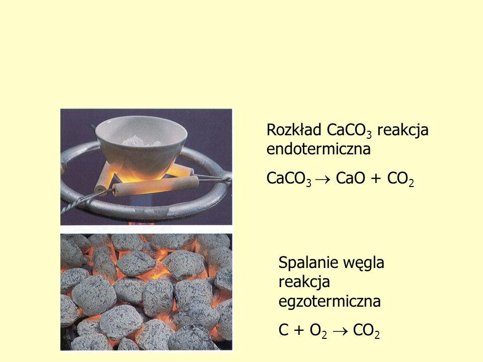 Rozkład CaCO 3 reakcja endotermiczna CaCO 3 CaO + CO 2 Spalanie węgla reakcja egzotermiczna C + O 2 CO 2