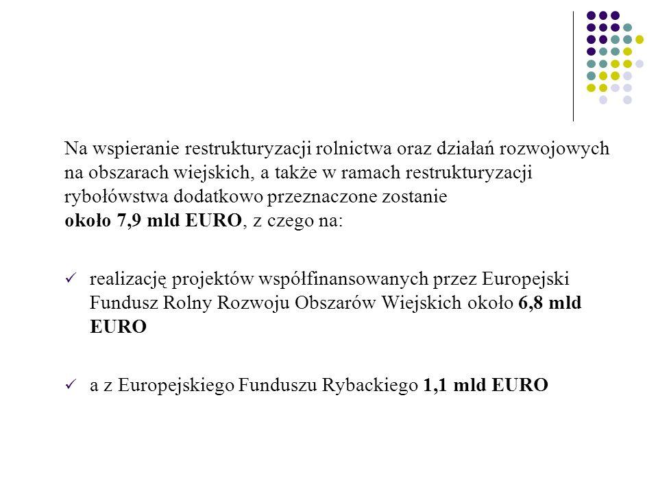 Na wspieranie restrukturyzacji rolnictwa oraz działań rozwojowych na obszarach wiejskich, a także w ramach restrukturyzacji rybołówstwa dodatkowo przeznaczone zostanie około 7,9 mld EURO, z czego na: realizację projektów współfinansowanych przez Europejski Fundusz Rolny Rozwoju Obszarów Wiejskich około 6,8 mld EURO a z Europejskiego Funduszu Rybackiego 1,1 mld EURO