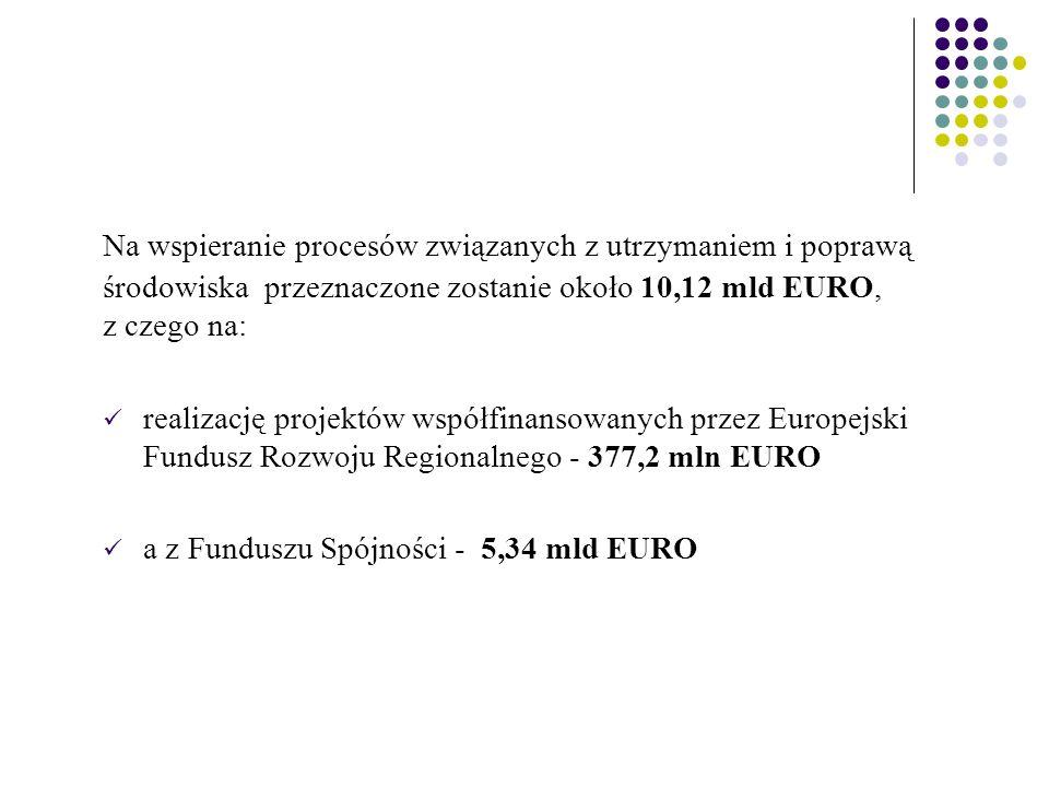 Na wspieranie procesów związanych z utrzymaniem i poprawą środowiska przeznaczone zostanie około 10,12 mld EURO, z czego na: realizację projektów współfinansowanych przez Europejski Fundusz Rozwoju Regionalnego - 377,2 mln EURO a z Funduszu Spójności - 5,34 mld EURO