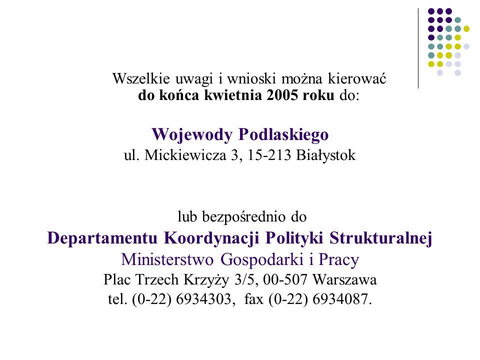 Wszelkie uwagi i wnioski można kierować do końca kwietnia 2005 roku do: Wojewody Podlaskiego ul.