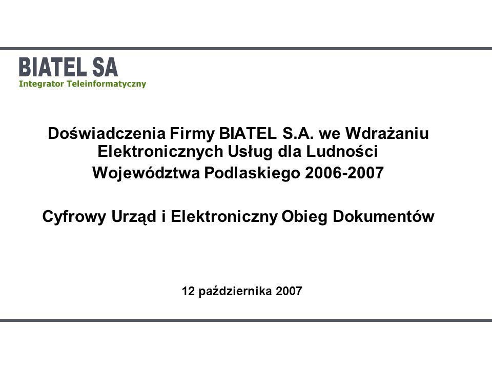 WYNIKI PRACY – ILOŚĆ URZĘDÓW I STANOWISK W wyniku działań uruchomiono system w 98 urzędach w tym w Urzędzie Marszałkowskim Zainstalowano ponad 2000 stanowisk Przeprowadzono instruktaże dla ponad 2500 użytkowników Uruchomiono centralne Elektroniczne Biuro Obsługi Interesanta zintegrowane z 3 lokalnymi EBOI