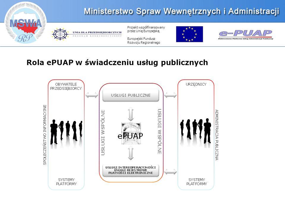Projekt współfinansowany przez Unię Europejską Europejski Fundusz Rozwoju Regionalnego Rola ePUAP w świadczeniu usług publicznych