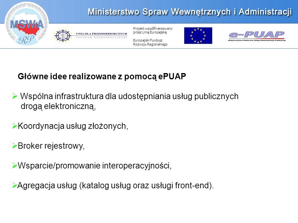 Projekt współfinansowany przez Unię Europejską Europejski Fundusz Rozwoju Regionalnego Główne idee realizowane z pomocą ePUAP Wspólna infrastruktura dla udostępniania usług publicznych drogą elektroniczną, Koordynacja usług złożonych, Broker rejestrowy, Wsparcie/promowanie interoperacyjności, Agregacja usług (katalog usług oraz usługi front-end).