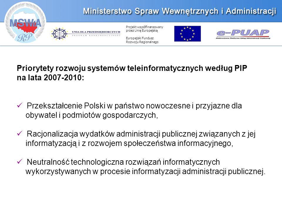 Projekt współfinansowany przez Unię Europejską Europejski Fundusz Rozwoju Regionalnego Priorytety rozwoju systemów teleinformatycznych według PIP na lata 2007-2010: Przekształcenie Polski w państwo nowoczesne i przyjazne dla obywatel i podmiotów gospodarczych, Racjonalizacja wydatków administracji publicznej związanych z jej informatyzacją i z rozwojem społeczeństwa informacyjnego, Neutralność technologiczna rozwiązań informatycznych wykorzystywanych w procesie informatyzacji administracji publicznej.