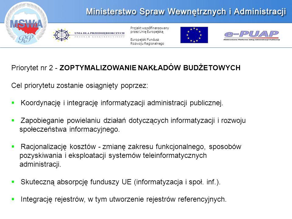 Projekt współfinansowany przez Unię Europejską Europejski Fundusz Rozwoju Regionalnego Priorytet nr 2 - ZOPTYMALIZOWANIE NAKŁADÓW BUDŻETOWYCH Cel priorytetu zostanie osiągnięty poprzez: Koordynację i integrację informatyzacji administracji publicznej.