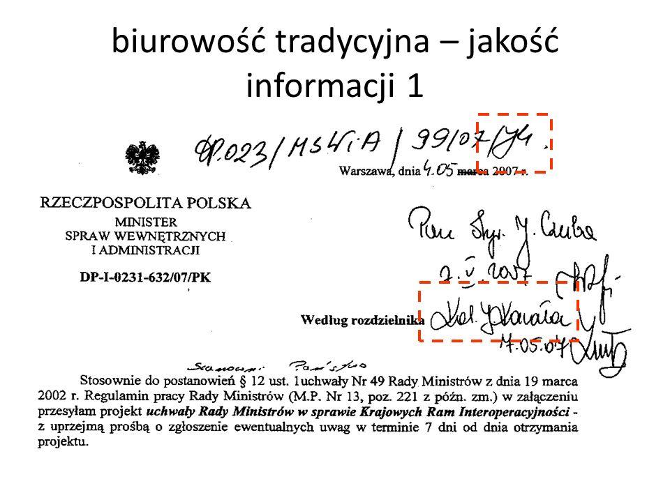 biurowość tradycyjna – jakość informacji 1
