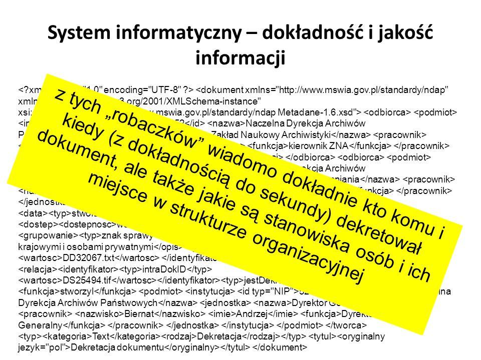System informatyczny – dokładność i jakość informacji 5251572452 Naczelna Dyrekcja Archiwów Państwowych Zakład Naukowy Archiwistyki Krochmal Jacek kie