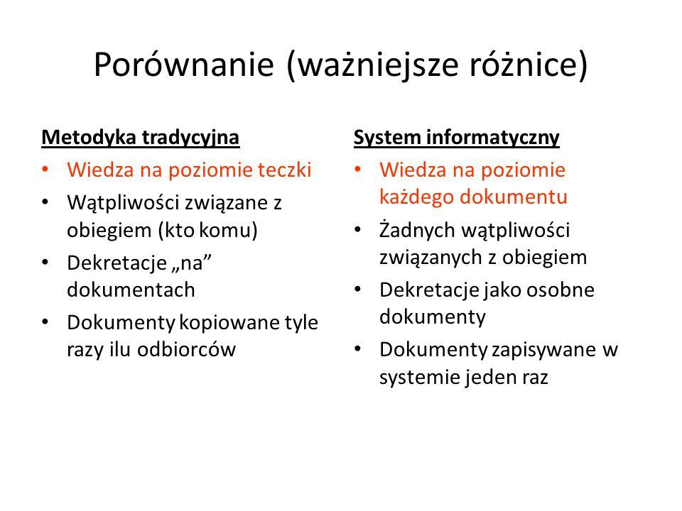 Porównanie (ważniejsze różnice) Metodyka tradycyjna Wiedza na poziomie teczki Wątpliwości związane z obiegiem (kto komu) Dekretacje na dokumentach Dok