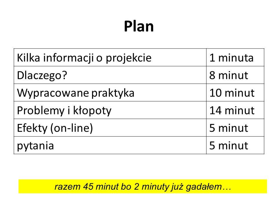 Plan Kilka informacji o projekcie1 minuta Dlaczego?8 minut Wypracowane praktyka10 minut Problemy i kłopoty14 minut Efekty (on-line)5 minut pytania5 mi