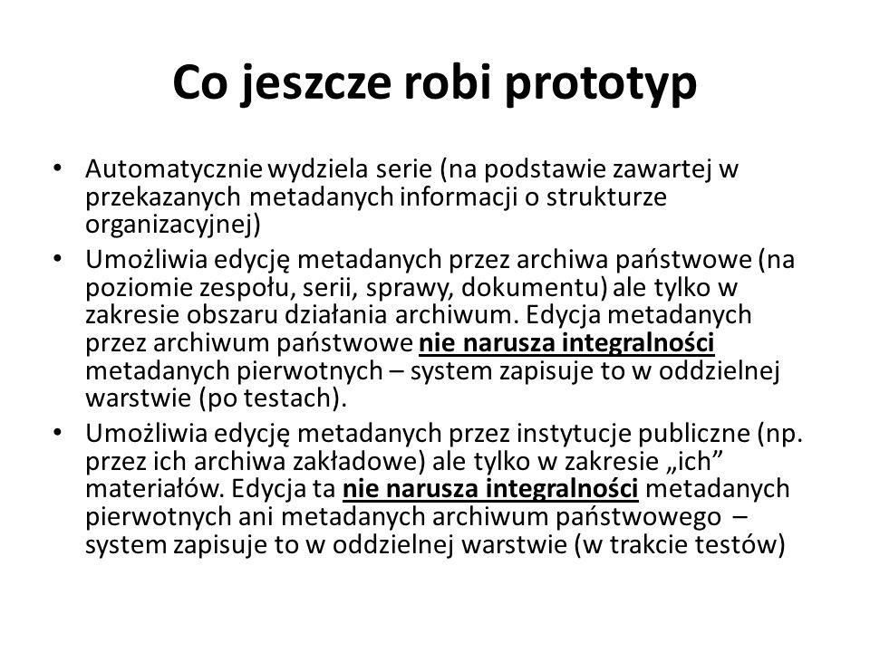 Co jeszcze robi prototyp Automatycznie wydziela serie (na podstawie zawartej w przekazanych metadanych informacji o strukturze organizacyjnej) Umożliw
