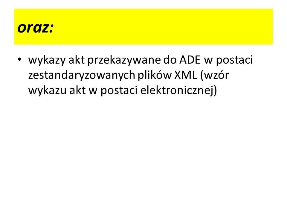 wykazy akt przekazywane do ADE w postaci zestandaryzowanych plików XML (wzór wykazu akt w postaci elektronicznej) oraz: