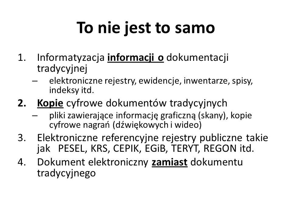 To nie jest to samo 1.Informatyzacja informacji o dokumentacji tradycyjnej – elektroniczne rejestry, ewidencje, inwentarze, spisy, indeksy itd. 2.Kopi