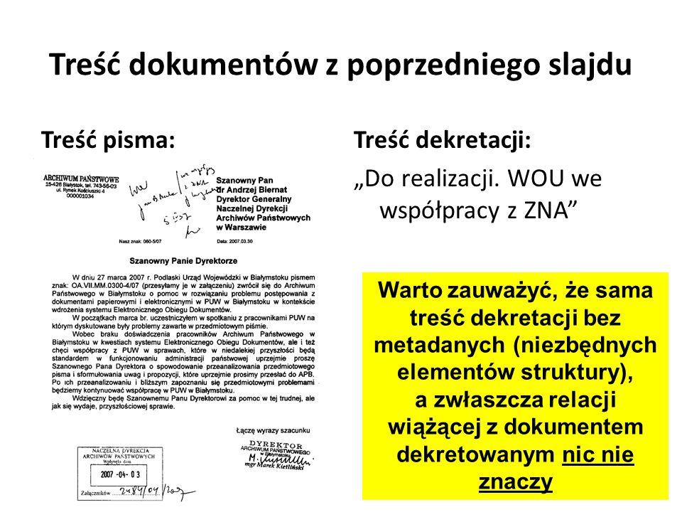Treść dokumentów z poprzedniego slajdu Treść pisma:Treść dekretacji: Do realizacji. WOU we współpracy z ZNA Warto zauważyć, że sama treść dekretacji b