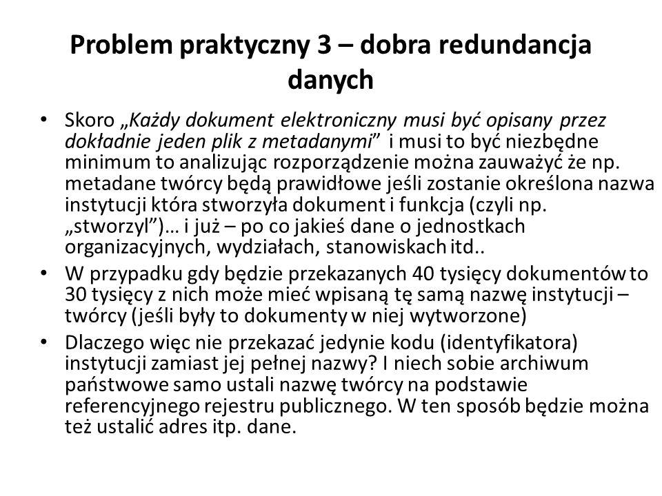 Problem praktyczny 3 – dobra redundancja danych Skoro Każdy dokument elektroniczny musi być opisany przez dokładnie jeden plik z metadanymi i musi to