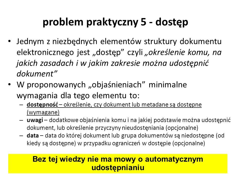 problem praktyczny 5 - dostęp Jednym z niezbędnych elementów struktury dokumentu elektronicznego jest dostęp czyli określenie komu, na jakich zasadach