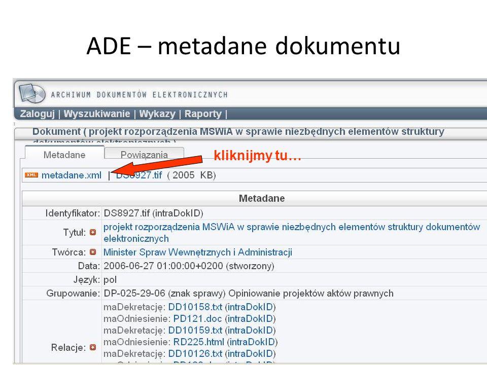 ADE – metadane dokumentu kliknijmy tu…