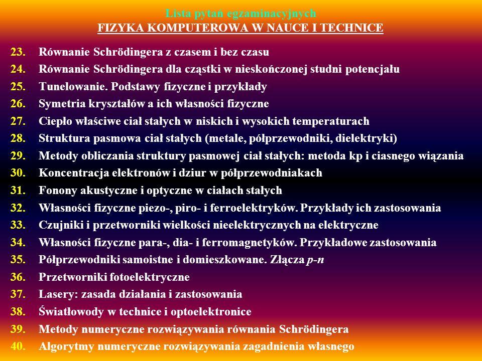 Lista pytań egzaminacyjnych FIZYKA KOMPUTEROWA W NAUCE I TECHNICE 23.Równanie Schrödingera z czasem i bez czasu 24.Równanie Schrödingera dla cząstki w