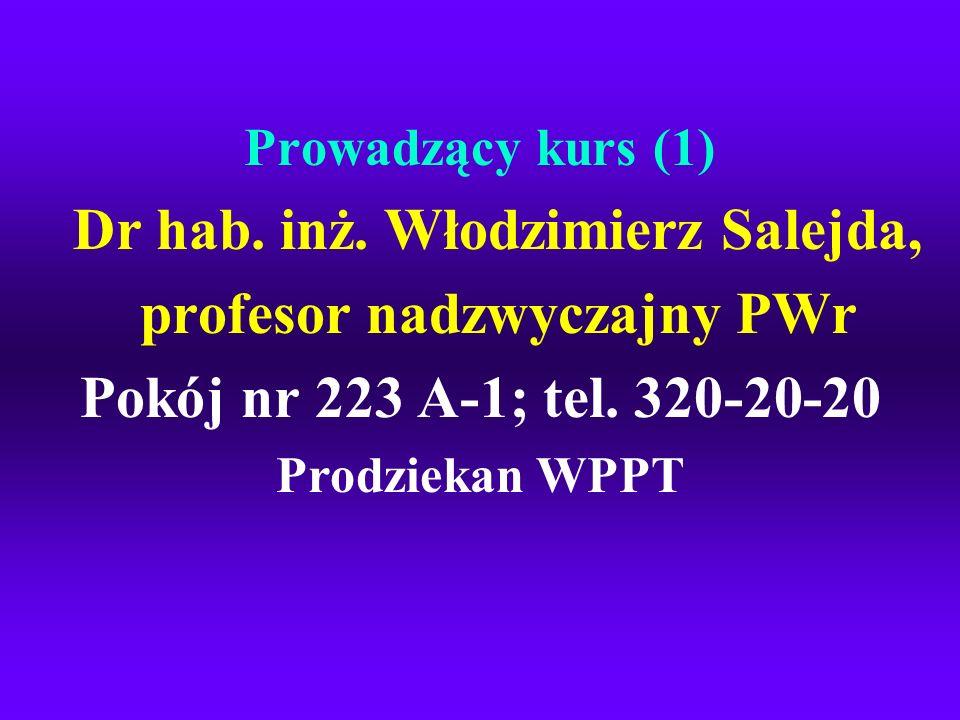 Prowadzący kurs (1) Dr hab. inż. Włodzimierz Salejda, profesor nadzwyczajny PWr Pokój nr 223 A-1; tel. 320-20-20 Prodziekan WPPT