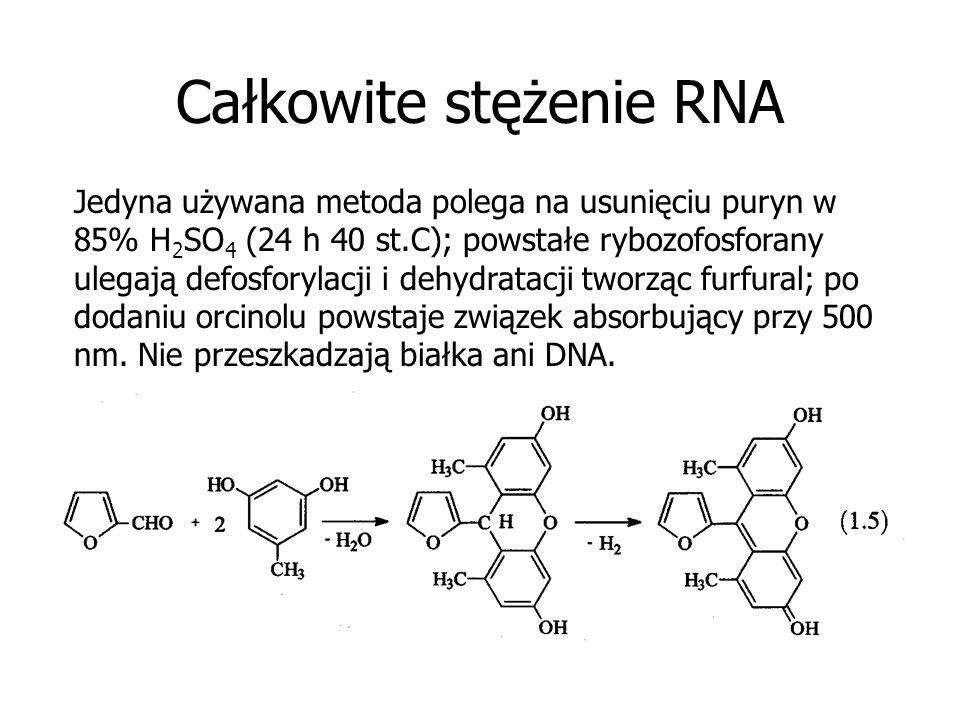 Całkowite stężenie RNA Jedyna używana metoda polega na usunięciu puryn w 85% H 2 SO 4 (24 h 40 st.C); powstałe rybozofosforany ulegają defosforylacji