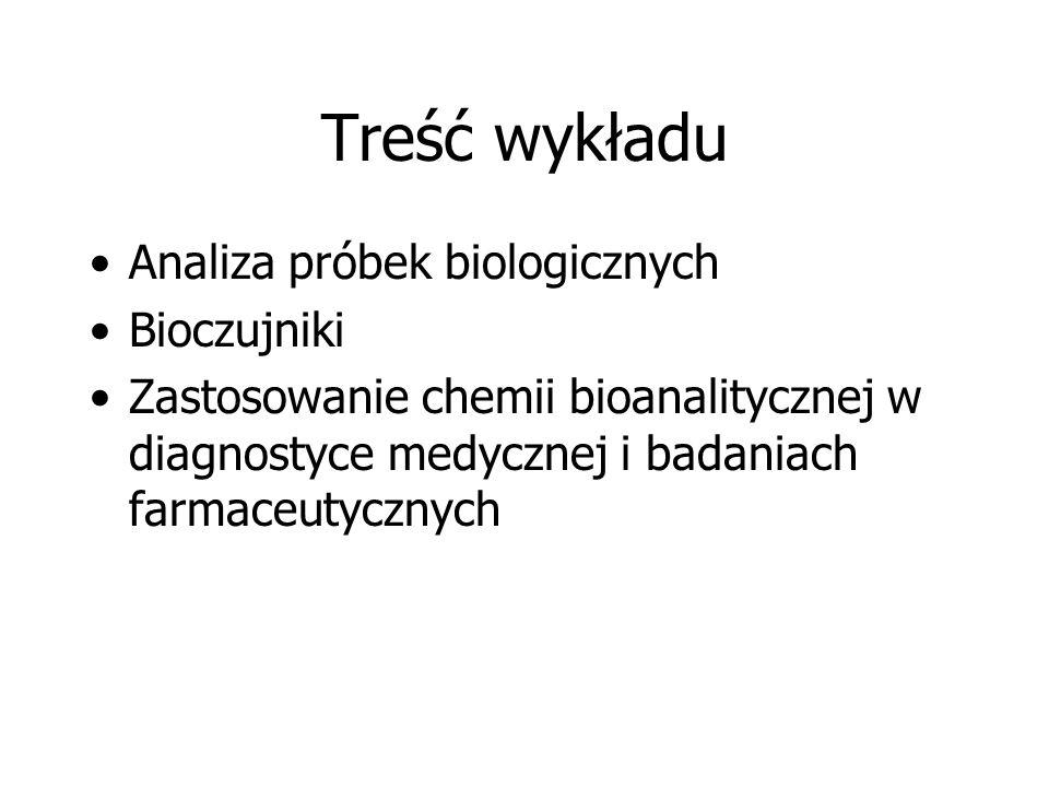 Treść wykładu Analiza próbek biologicznych Bioczujniki Zastosowanie chemii bioanalitycznej w diagnostyce medycznej i badaniach farmaceutycznych