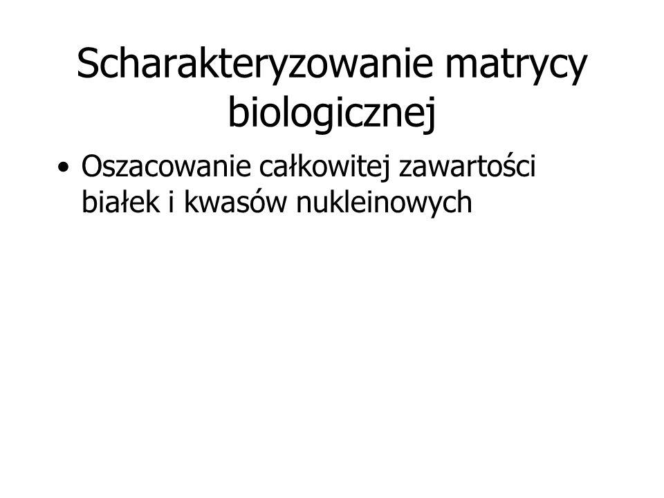 Scharakteryzowanie matrycy biologicznej Oszacowanie całkowitej zawartości białek i kwasów nukleinowych