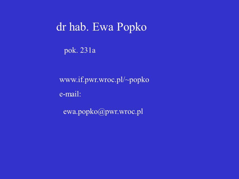 dr hab. Ewa Popko www.if.pwr.wroc.pl/~popko e-mail: pok. 231a ewa.popko@pwr.wroc.pl