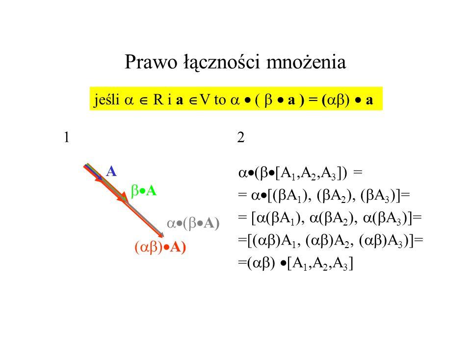 Prawo łączności mnożenia ( [A 1,A 2,A 3 ]) = = [( A 1 ), ( A 2 ), ( A 3 )]= =[( )A 1, ( )A 2, ( )A 3 )]= =( ) [A 1,A 2,A 3 ] jeśli R i a V to ( a ) =