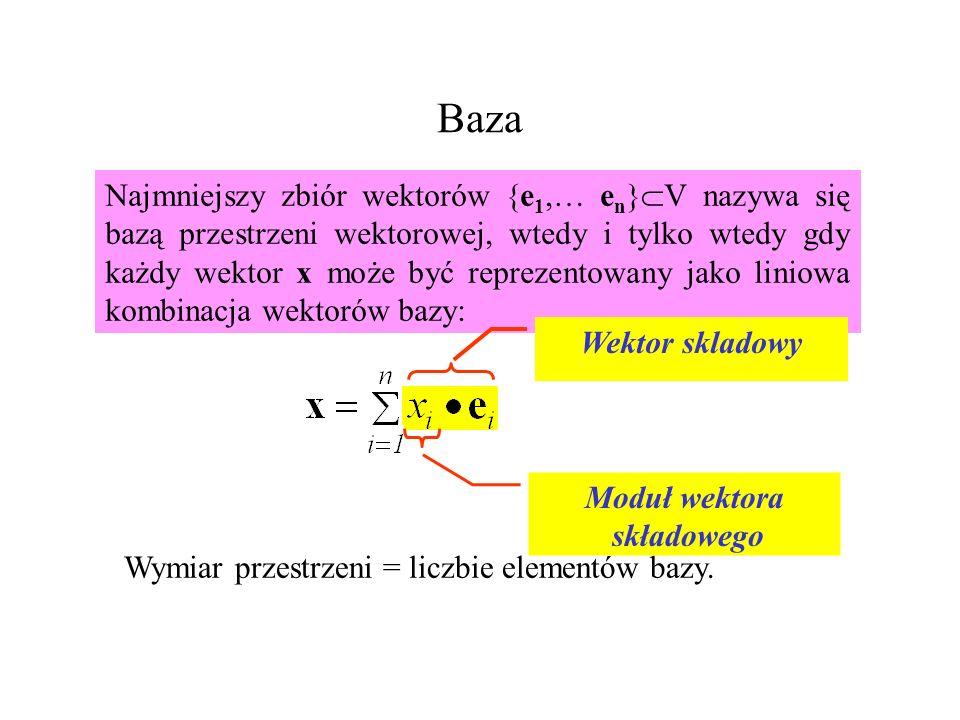 Baza Najmniejszy zbiór wektorów {e 1,… e n } V nazywa się bazą przestrzeni wektorowej, wtedy i tylko wtedy gdy każdy wektor x może być reprezentowany