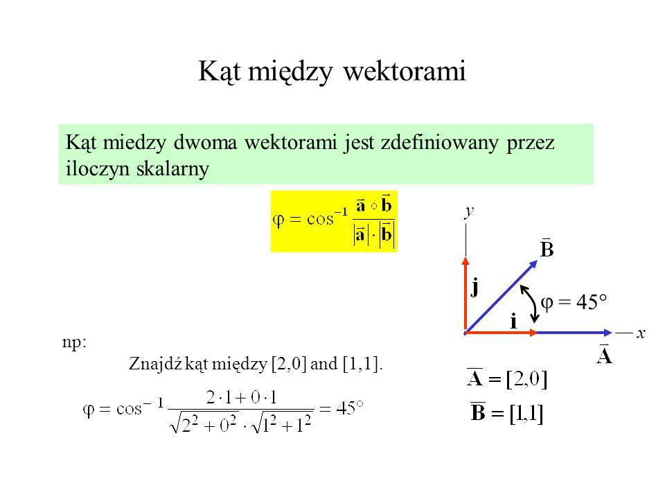 Kąt między wektorami Kąt miedzy dwoma wektorami jest zdefiniowany przez iloczyn skalarny np: Znajdź kąt między [2,0] and [1,1]. x y = 45