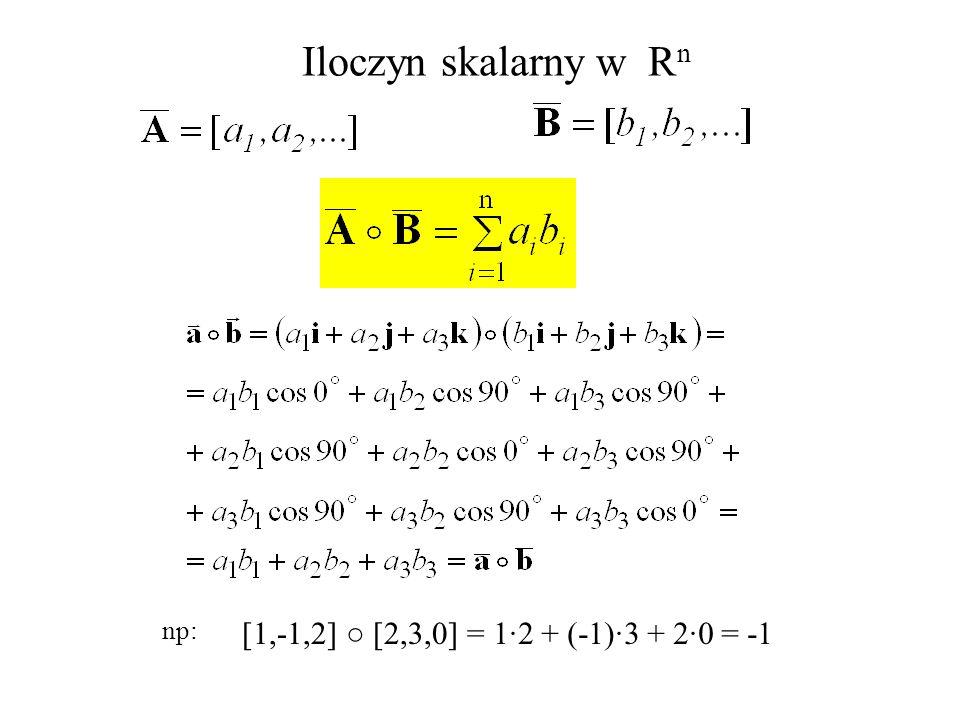 Iloczyn skalarny w R n np: [1,-1,2] [2,3,0] =1·2 + (-1)·3 + 2·0 = -1