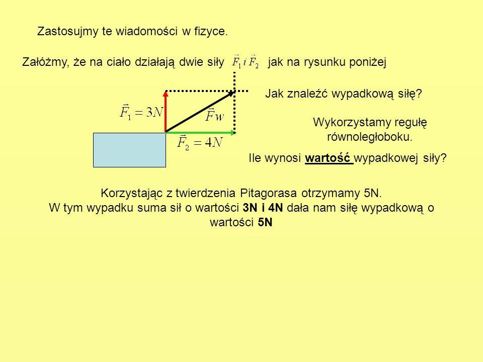 Zastosujmy te wiadomości w fizyce. Załóżmy, że na ciało działają dwie siły jak na rysunku poniżej Ile wynosi wartość wypadkowej siły? Wykorzystamy reg