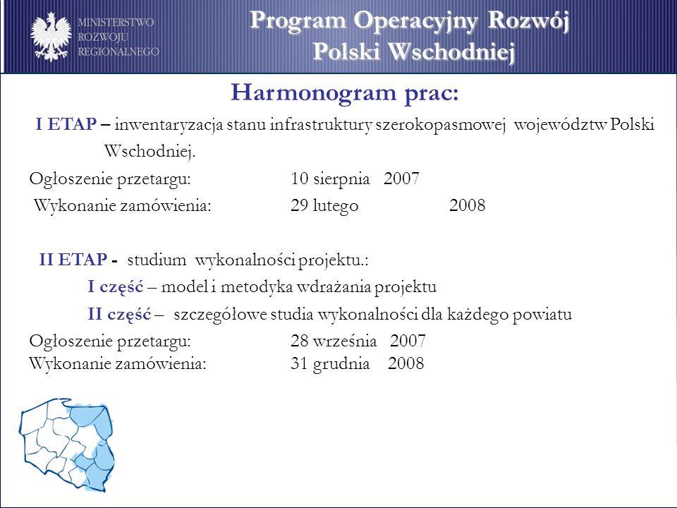 Harmonogram prac: I ETAP – inwentaryzacja stanu infrastruktury szerokopasmowej województw Polski Wschodniej. Ogłoszenie przetargu: 10 sierpnia 2007 Wy