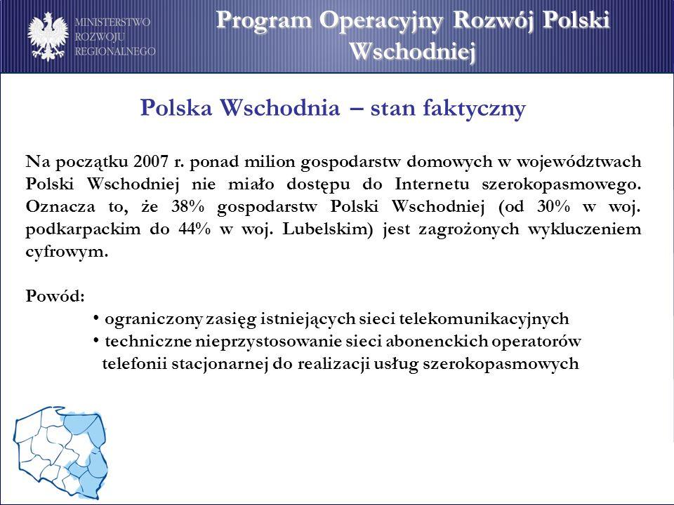 Program Operacyjny Rozwój Polski Wschodniej Polska Wschodnia – stan faktyczny Na początku 2007 r. ponad milion gospodarstw domowych w województwach Po