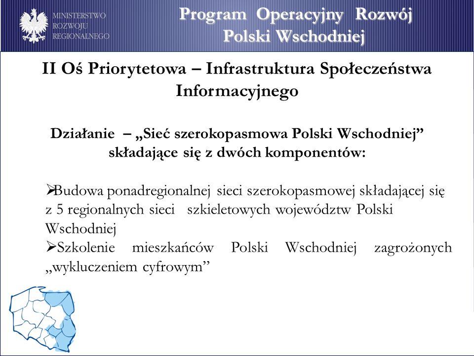 II Oś Priorytetowa – Infrastruktura Społeczeństwa Informacyjnego Działanie – Sieć szerokopasmowa Polski Wschodniej składające się z dwóch komponentów: