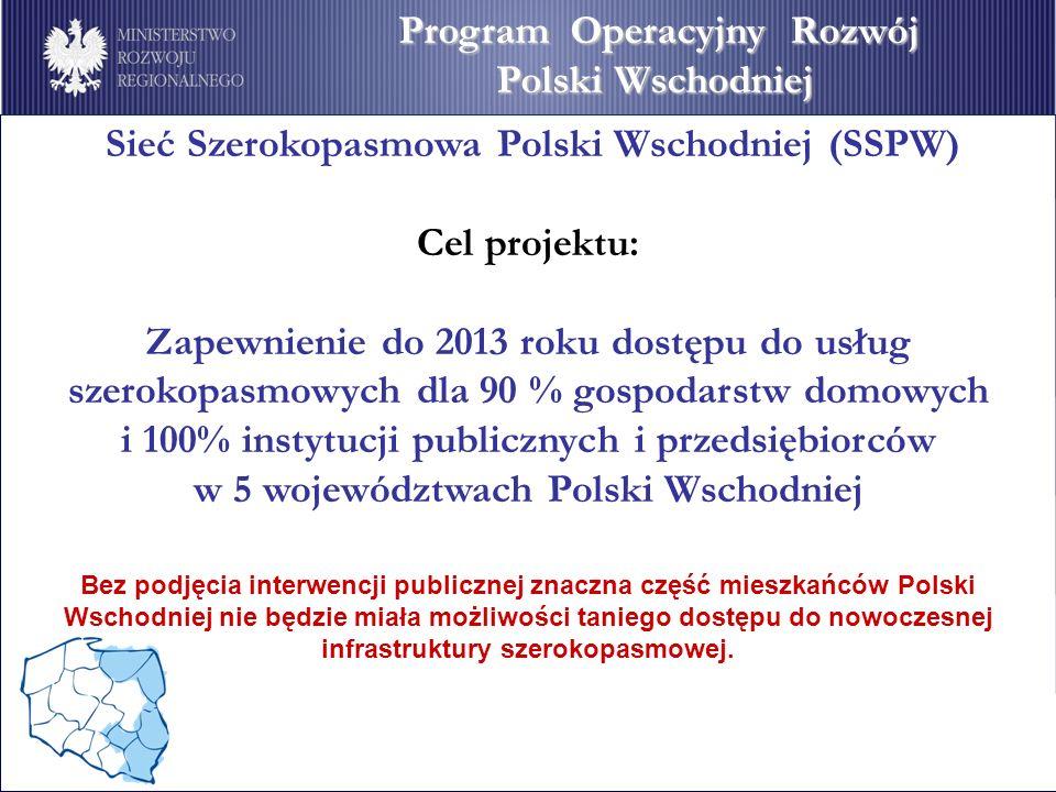 Sieć Szerokopasmowa Polski Wschodniej (SSPW) Cel projektu: Zapewnienie do 2013 roku dostępu do usług szerokopasmowych dla 90 % gospodarstw domowych i
