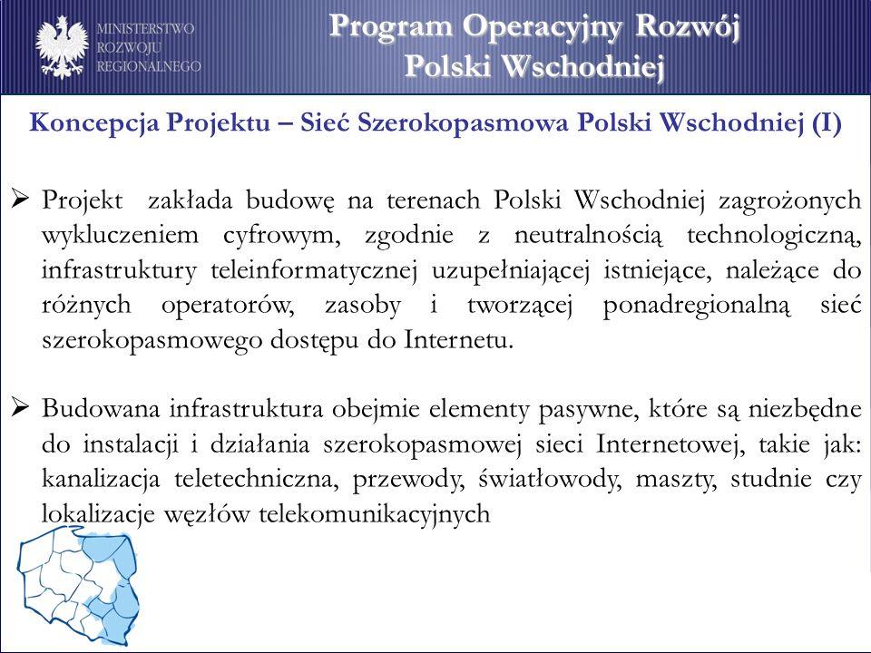 Koncepcja Projektu – Sieć Szerokopasmowa Polski Wschodniej (I) Projekt zakłada budowę na terenach Polski Wschodniej zagrożonych wykluczeniem cyfrowym,