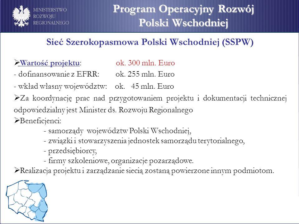 Sieć Szerokopasmowa Polski Wschodniej (SSPW) Wartość projektu: ok. 300 mln. Euro - dofinansowanie z EFRR: ok. 255 mln. Euro - wkład własny województw: