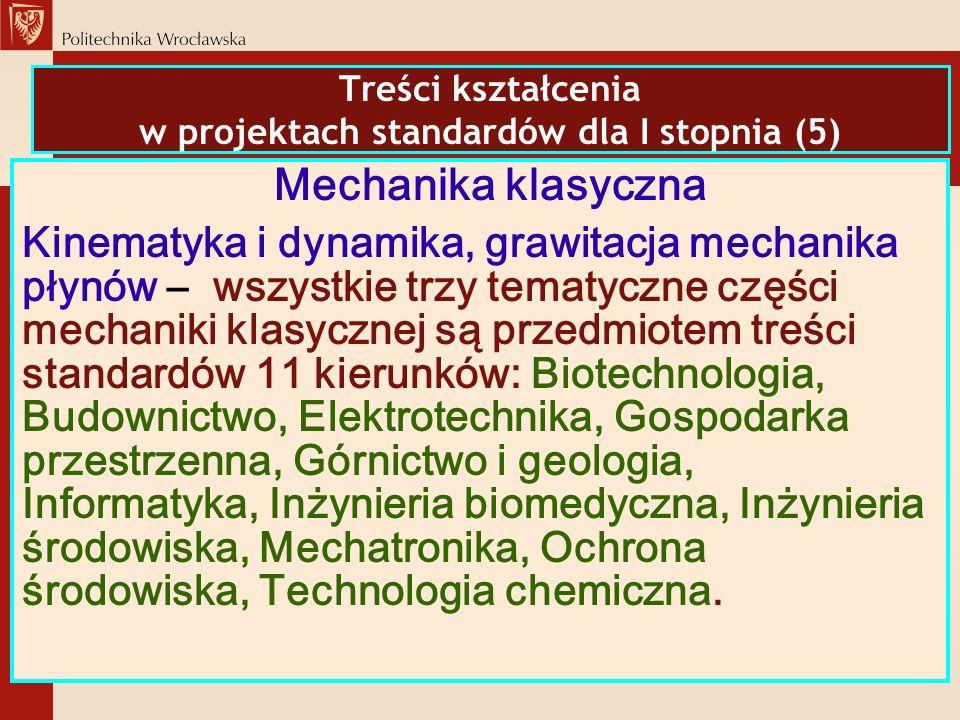 Treści kształcenia w projektach standardów dla I stopnia (5) Mechanika klasyczna Kinematyka i dynamika, grawitacja mechanika płynów – wszystkie trzy t